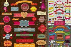 Color Ribbon Label Design Vector Material