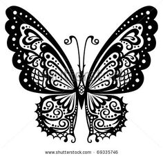 Artistic pattern with butterfly, suitable for a tattoo - stock vector