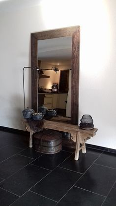 Wooden bench and mirror in the hall # hall furnishings # corridor # ideas # rura. Wooden bench and mirror in the hall # hall furnishings # corridor # ideas # rural # dra … – Hallway Ideas Entrance Narrow, Modern Hallway, House Entrance, Corridor Ideas, Small Entryways, Small Hallways, Black Wall Sconce, Paint Colors For Living Room, Recycled Furniture