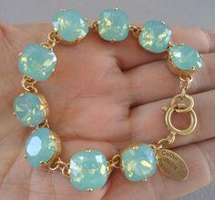 Catherine Popesco Stunning Pacific Opal Swarovski Crystal Goldtone Bracelet   eBay