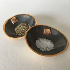 2 ceramic trinket dishes, tea light holder, ceramic ring dish, jewellery dish, trinket bowl, salt and pepper dishes, small ceramic bowl, by RJPotteryshop on Etsy https://www.etsy.com/uk/listing/545949775/2-ceramic-trinket-dishes-tea-light
