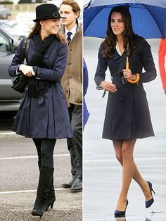I love love love Kate's trench. It worked well for her young, pre-royal days and it now dresses up nice for her Duchess days.