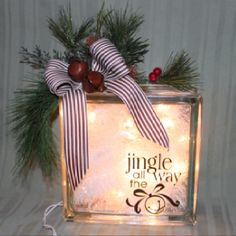 cricut glass block | Jingle glass block | Cricut Crafts