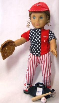 "Twelve Piece COMPLETE Baseball or Softball Uniform. Fits 18"" Dolls like American Girl® Wholesale Doll Clothes http://www.amazon.com/dp/B004PR481G/ref=cm_sw_r_pi_dp_LIhBub0NR7916"
