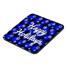 #rustic - #Snowflake Buffalo Plaid Blue l Happy Holidays Drink Coaster