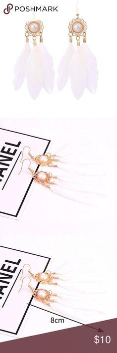 White feather earrings White feather earrings Jewelry Earrings