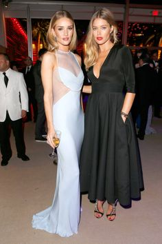 Rosie Huntington Whitely #RosieHW in Cushnie et Ochs and Doutzen Kroes at #Oscars after parties via Harper's BAZAAR