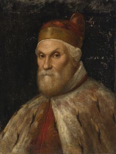 VENETIAN SCHOOL, 16TH CENTURY  PORTRAIT OF A DOGE, POSSIBLY NICCOLO DA PONTE  Estimation: 8,000 - 12,000 USD   oil on canvas mounted onpanel  27 7/8 by 21 1/4 in.; 70.8 by 54 cm.