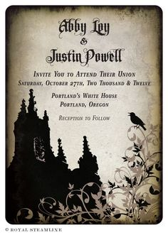 #Goth Wedding Invitation... Wedding ideas for brides, grooms, parents & planners ... https://itunes.apple.com/us/app/the-gold-wedding-planner/id498112599?ls=1=8 … plus how to organise an entire wedding, without overspending ♥ The Gold Wedding Planner iPhone App ♥