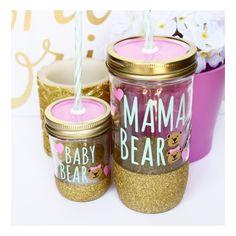 Mama Bear & Baby Bear // Mason Jar Tumbler // Personalized Tumbler // Glitter Dipped Tumbler // Mama Bear and Baby Bear Mother Daughter Tumb by TwinkleTwinkleLilJar on Etsy https://www.etsy.com/listing/237356833/mama-bear-baby-bear-mason-jar-tumbler