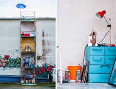 italian artist fra.biancoshock has reinterpreted a scaffolding as personal living space.