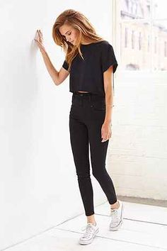 BDG Twig High-Rise Button-Fly Jean - True Black - Urban Outfitters Would wear a similar outfit.