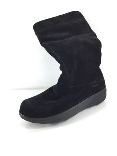 eca9079fe6 420 FitFlop Loaff Slouchy Black Suede Boots Women s Size 8 M  fashion   clothing
