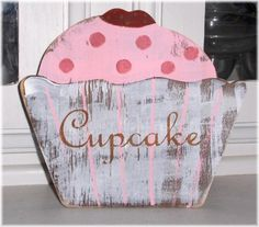 Cupcake Shabby Cottage Pink Shelf Sitter by mycountrycottagesign, $14.95