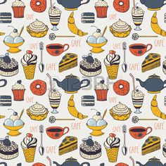 Cafe pattern Stock Vector