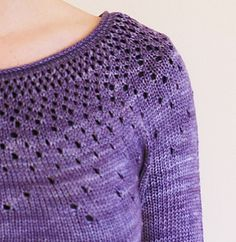 Ravelry: Raindrops pattern by tincanknits Raindrops is an exquisitely simple lace yoke pullover. Knit in the round from collar to cuffs, it features a random eyelet lace pattern reminiscent of raindrops or falling snow. Knit Or Crochet, Lace Knitting, Knitting Stitches, Knitting Patterns, Diy Pullover, Diy Scarf, Jumpers For Women, Ladies Jumpers, Knitting For Beginners