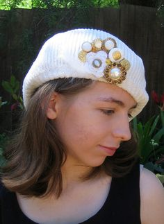 Statement Pin, Scarf or Hat Accessory - Irish Crochet Rose & Vintage Button Collage