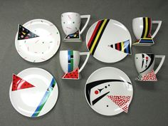 4 PC Cup Plate Set 1980's Retro Fujimori Memphis Kato Kogei   eBay