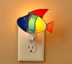 Stained Glass Night Light Rainbow Fish by StainedGlassDanaLin, Stained Glass Lamp Shades, Stained Glass Night Lights, Stained Glass Windows, Glass Shades, Mosaic Glass, Fused Glass, Glass Art, Stained Glass Designs, Stained Glass Projects