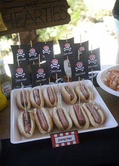 Cool Pirate Party Ideas - Party Food Hot Dogs (Scurvy Dogs)