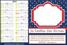 """Calendário da Primária - """"As Famílias São Eternas"""" (Tempo de Compartilhar 2014)"""