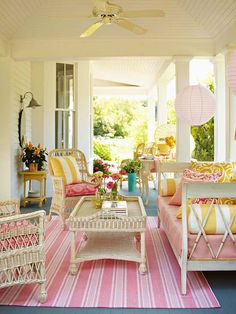 porch furniture arrangement