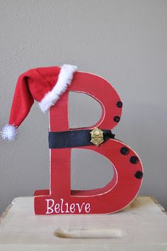 """Believe in Christmas!   Do you believe in Santa and Christmas.   We do and we love to show that with this adorable """"B"""".     Stands ..."""