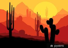 Cactus plants in Mexico desert sunset vector Wall Mural ✓ Easy Installation ✓ 365 Days to Return ✓ Browse other patterns from this collection! Desert Art, Desert Sunset, Fun Deserts, Mural Painting, Horror Films, Cactus Plants, Landscape Paintings, Landscapes, Painted Rocks