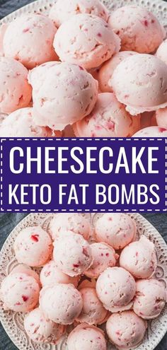 The best keto fat bombs! Tastes like strawberry cheesecake bites, and so simple and easy to make #lowcarb #keto #glutenfree #vegetarian