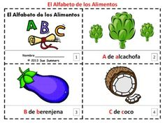 Spanish Alphabet of Food 2 Booklets / Alfabeto de Alimentos - One with text and images, one with text only so students can sketch and create their own versions of the booklet.