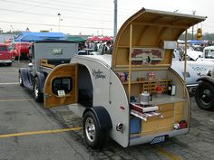 TearDrop Camping Trailer @ Antique Car Swap Meet, LA County Fairgrounds, Pomona, CA - favs- favorites- favourites Teardrop Trailer Interior, Building A Teardrop Trailer, Teardrop Caravan, Teardrop Camping, Diy Camper Trailer, Camper Caravan, Tiny Trailers, Travel Trailers, Camper Lights