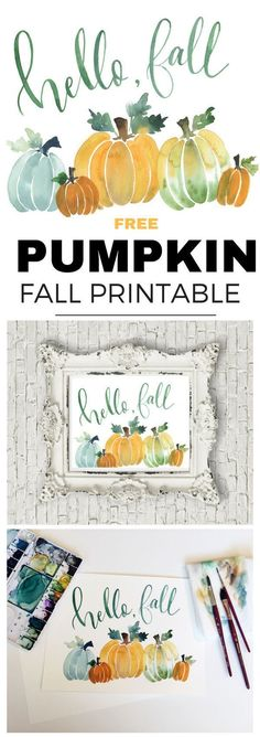 Free Hello Fall Pumpkin Printable in pretty watercolor. Pumpkin Printable, Printable Art, Free Printables, Party Printables, Fall Crafts, Holiday Crafts, Diy Crafts, Holiday Ideas, Fall Inspiration