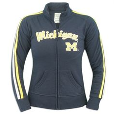 Michigan Wolverines Ladies Colosseum Pacer Track Jacket Huge Sale, University Of Michigan, Go Blue, Michigan Wolverines, Motorcycle Jacket, Track, My Style, Lady, Sports