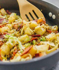 This is a really easy fried cabbage and potatoes recipe with crispy bacon. Only six ingredients and one pan needed. Perfect for busy weeknights!