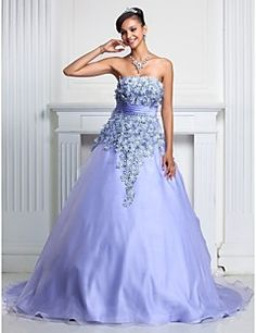 Ball Gown Strapless Court Train Organza Evening/Prom Dress – CAD $ 264.09