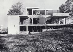 Gerrit Rietveld, Van Slobbe House, (1961-1963) This house, built for a mining director, is the largest house Rietveld ever built and shares with many houses of this period a horizontally defined composition accentuated by broad frameworks of concrete that surround the windows but also extend beyond them, The emphasis on the line as opposed to the plane visible in this house is also seen in Rietveld's last furniture design, the Steltman Chair.