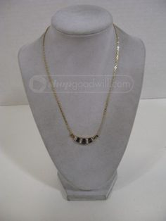 Inc 14K Yellow Gold 7 Station Heart Necklace 18-16 Inches B.O.S Jewelers
