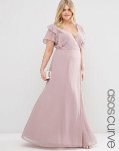 Image 1 ofASOS CURVE Frill Wrap Maxi Dress