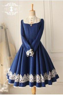Blue Vintage Castle Girl Woolen Long Sleeves Classic Lolita Dress