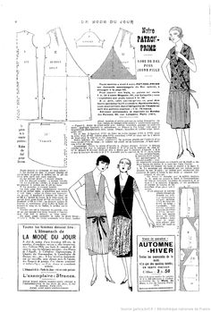 ok/La Mode du jour Costume Année 30, 1920s Costume, Costumes, Doll Clothes Patterns, Sewing Clothes, Clothing Patterns, Diy Couture Mode, 1920s Dress Pattern, Vintage Outfits