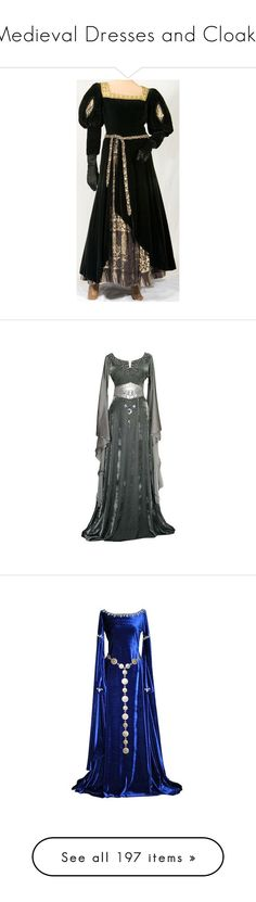 """""""Medieval Dresses and Cloaks"""" by just-call-me-chuck ❤ liked on Polyvore featuring costumes, dresses, medieval, renaissance, plus size maid marian costume, renaissance princess costume, plus size womens costumes, plus size costumes, queen costume and gowns"""