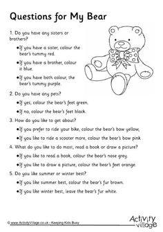 My Bear game - find out about each other's differences.