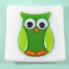 Art Glass Dish with Green Owl on White Background, 5 Inch, Fused Glass