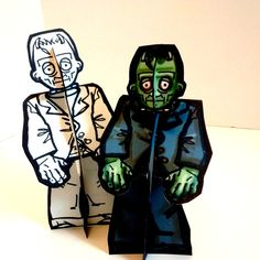 Frankenstein Monster Paper Doll Set - Printable Toy by PaperTownToys on Etsy