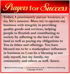 Father I Pionately Pursue Business As My Life S Mission Bless Me To Operate