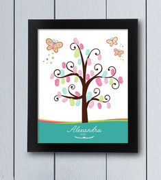 This cute tree with lots of colorful butterflies and stars for fingerprints will decorate in your girl party, christening or baby shower. It will be a