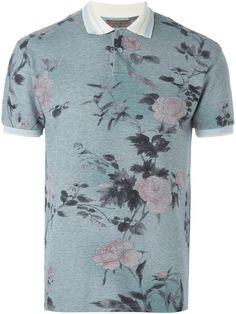 Burgundy Japanese Floral Polo  89092ef56153e