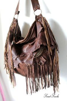 07ab861b28 Dark brown distressed leather hobo super large raw edge bag fringe fringes  agate stone tribal bohemian western boho raw edge unique