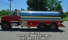 GMC US Tanker with 3500 gallon poly tank wrapped in stainless steel. For sale with Firetec. Fire Trucks For Sale, Poly Tanks, Fire Apparatus, Fire Department, Stainless Steel, Phone, Fire Dept, Telephone, Firetruck