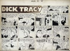 Chester Gould Art | DICK TRACY SUNDAY 8/3/1947 ( Chester Gould ) Comic Art